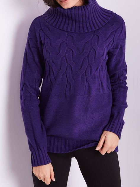 Fioletowy sweter golf w warkocze                              zdj.                              2