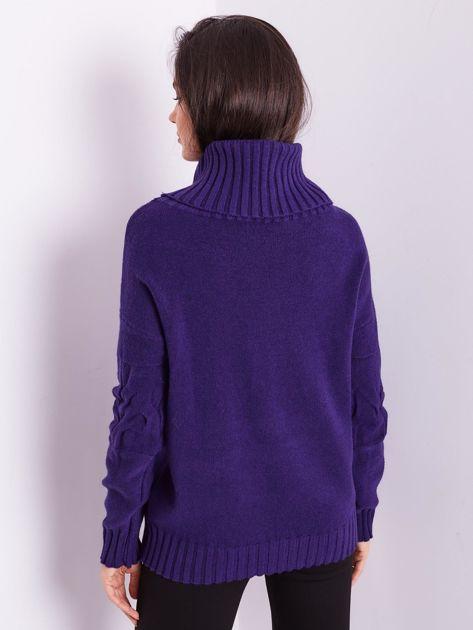 SCANDEZZA Fioletowy sweter golf w warkocze                              zdj.                              4