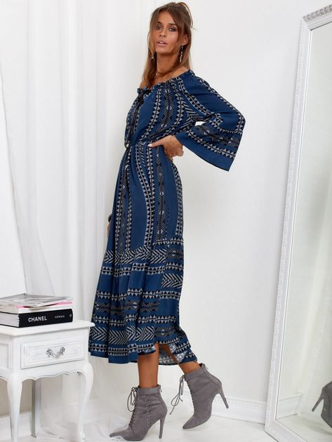 SCANDEZZA Granatowa sukienka maxi hiszpanka ze wzorem                              zdj.                              3