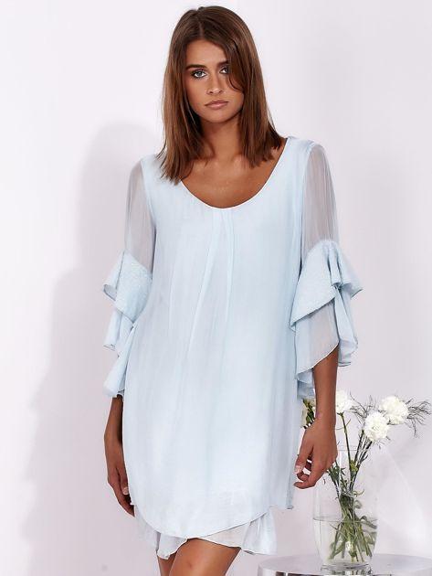 SCANDEZZA Jasnoniebieska zwiewna sukienka z hiszpańskimi rękawami                              zdj.                              1