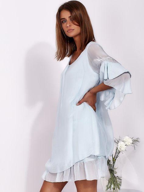 SCANDEZZA Jasnoniebieska zwiewna sukienka z hiszpańskimi rękawami                              zdj.                              3