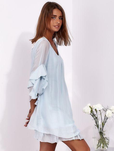 Jasnoniebieska zwiewna sukienka z hiszpańskimi rękawami                              zdj.                              5