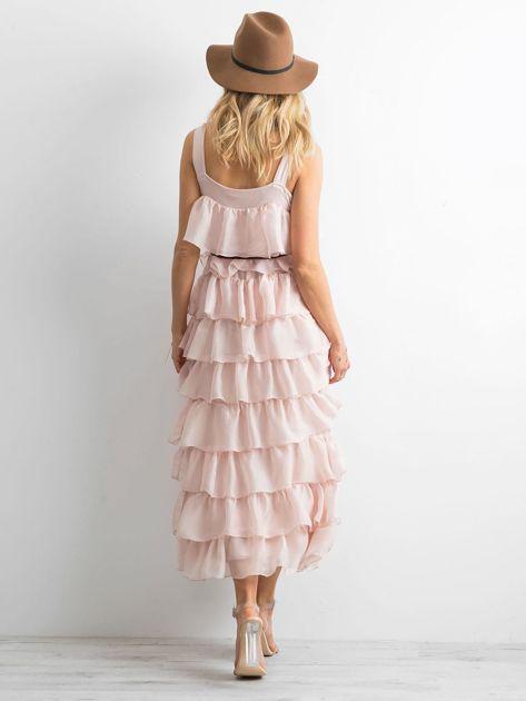 Jasnoróżowa sukienka z falbanami                              zdj.                              2