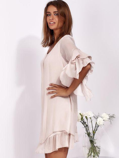 Jasnoróżowa zwiewna sukienka z hiszpańskimi rękawami                              zdj.                              3