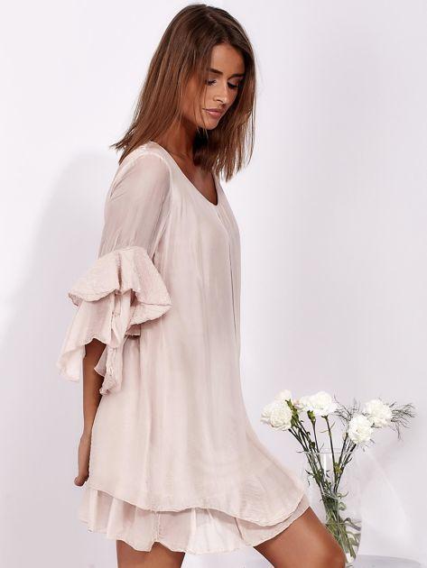 Jasnoróżowa zwiewna sukienka z hiszpańskimi rękawami                              zdj.                              5