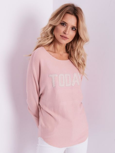 Jasnoróżowy sweter oversize z błyszczącym napisem                              zdj.                              6