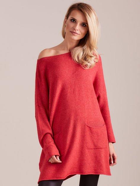 Koralowy długi sweter                              zdj.                              4
