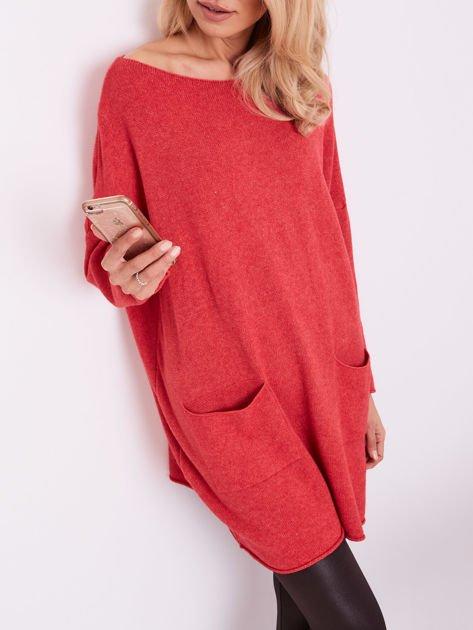 Koralowy długi sweter                              zdj.                              2