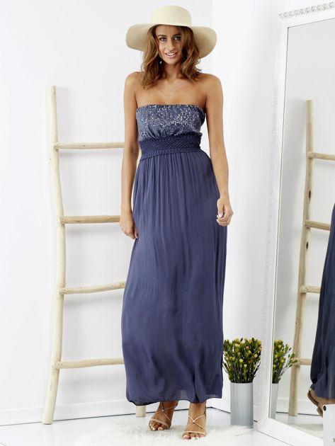 Niebieska sukienka maxi z cekinową górą                              zdj.                              1