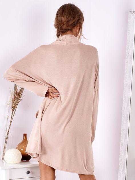 Pudroworóżowa luźna sukienka z jedwabiem                              zdj.                              3