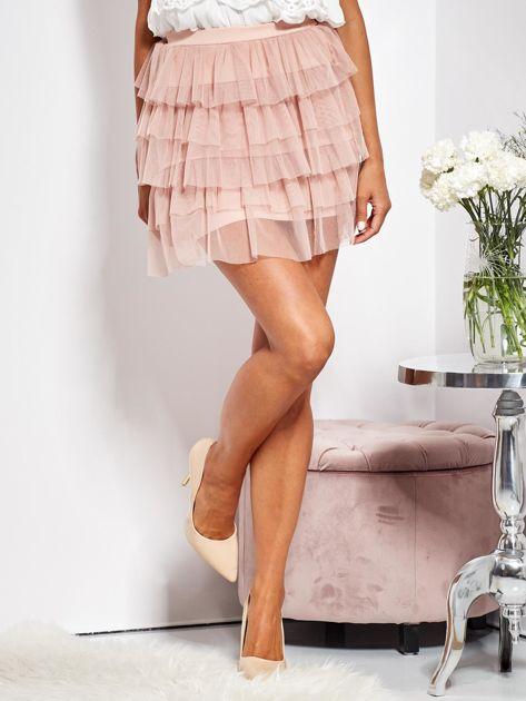 Pudroworóżowa mini spódnica z tiulem i falbanami                              zdj.                              2