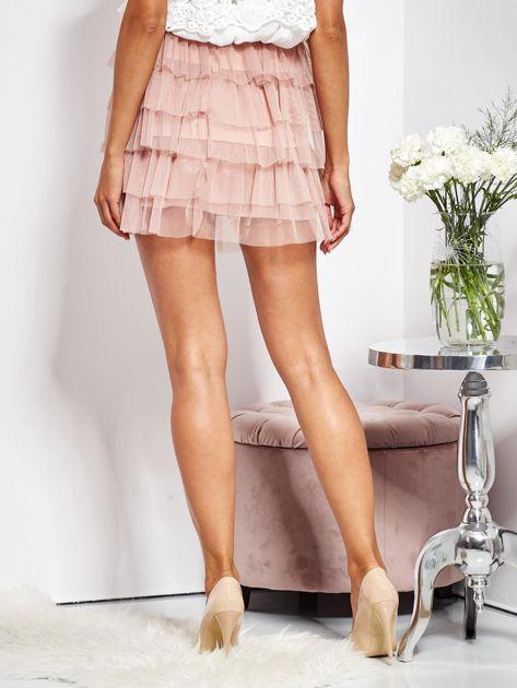 Pudroworóżowa mini spódnica z tiulem i falbanami                              zdj.                              8