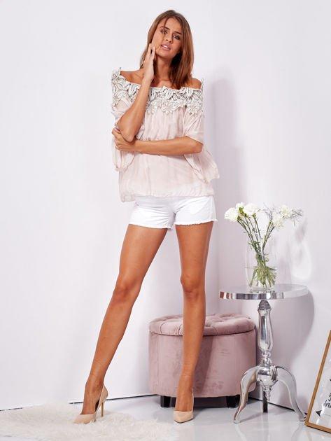 SCANDEZZA Różowa warstwowa bluzka hiszpanka z koronką                              zdj.                              4