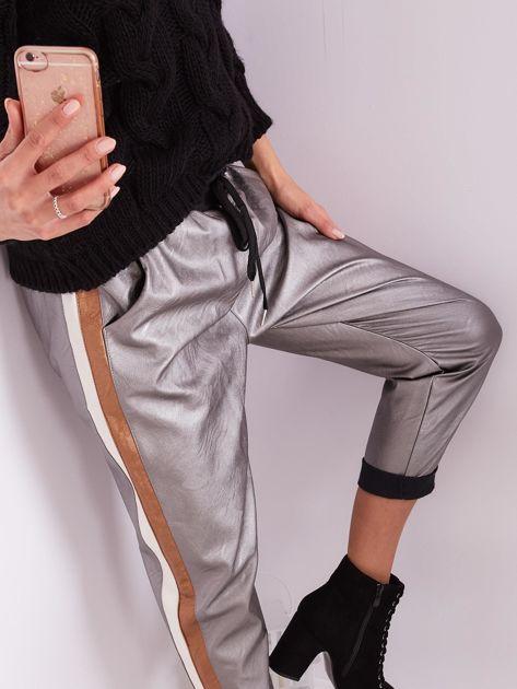 SCANDEZZA Srebrne skórzane spodnie                              zdj.                              2