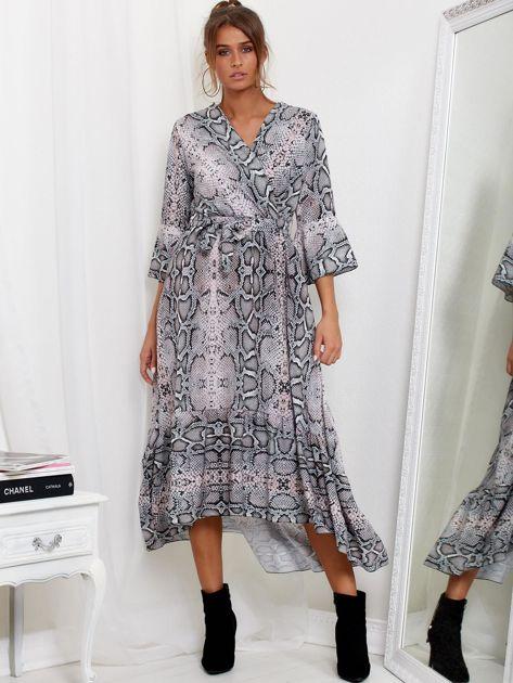 SCANDEZZA Szaro-różowa sukienka maxi z nadrukiem snake skin                              zdj.                              1