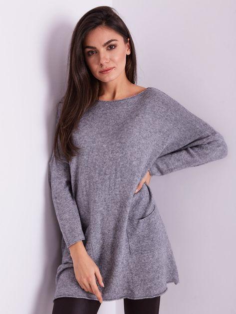 Szary długi sweter                              zdj.                              4