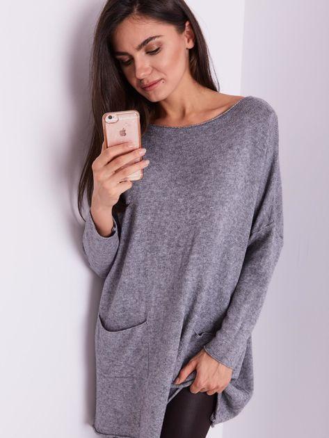 Szary długi sweter                              zdj.                              8