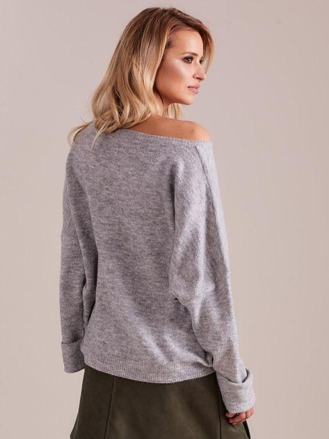Szary dzianinowy sweter                              zdj.                              3