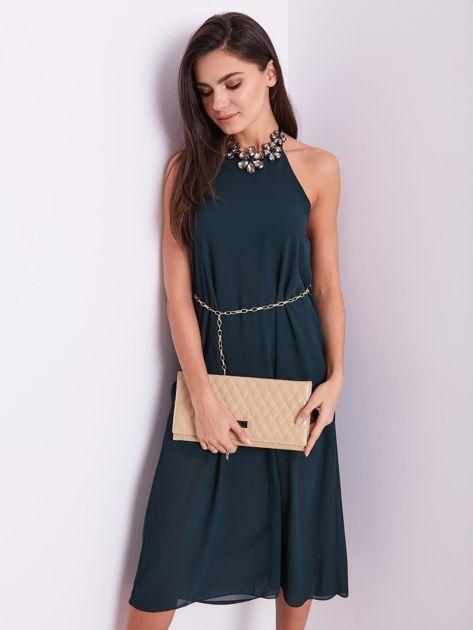 SCANDEZZA Zielona sukienka z ozdobnym dekoltem                              zdj.                              10