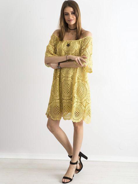 Żółta koronkowa sukienka hiszpanka                              zdj.                              4