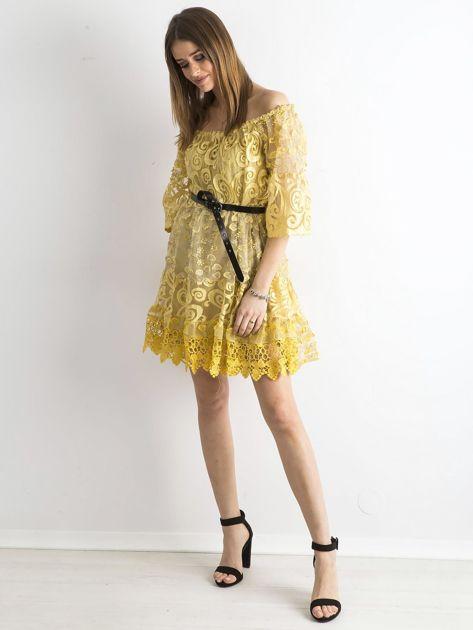 Żółta sukienka hiszpanka z koronką                              zdj.                              4