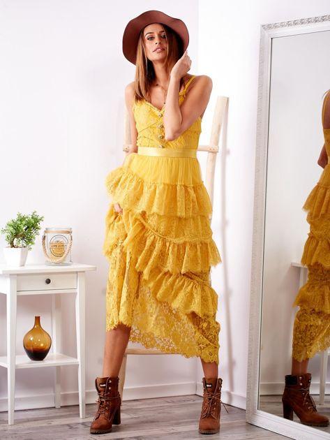 SCANDEZZA Żółta sukienka z falbanami                              zdj.                              4