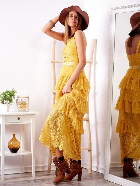 SCANDEZZA Żółta sukienka z falbanami                              zdj.                              3