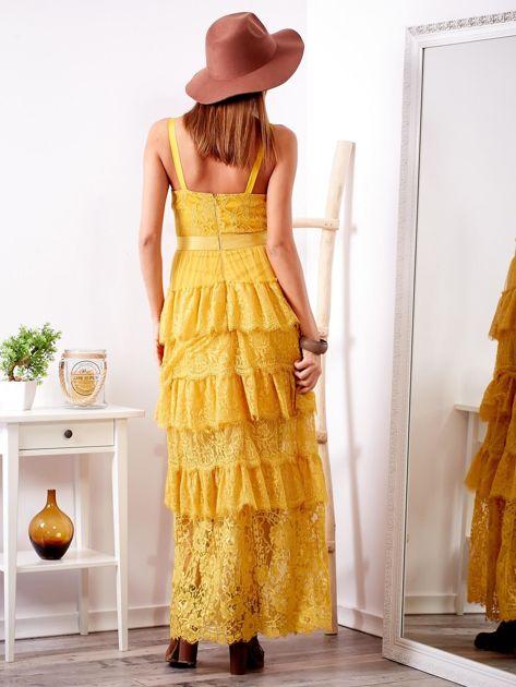 SCANDEZZA Żółta sukienka z falbanami                              zdj.                              2