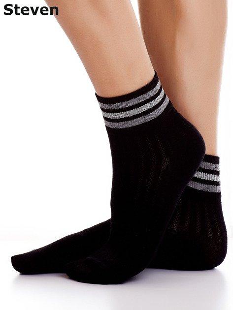 STEVEN Czarne bawełniane skarpety z paskami                              zdj.                              3