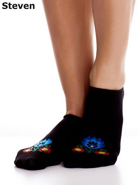 STEVEN Czarne bawełniane stopki z folkowym motywem                              zdj.                              5