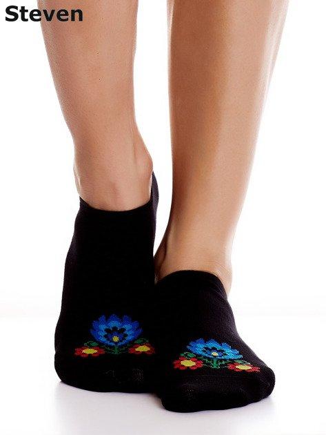 STEVEN Czarne stopki bawełniane z folkowym detalem                              zdj.                              5