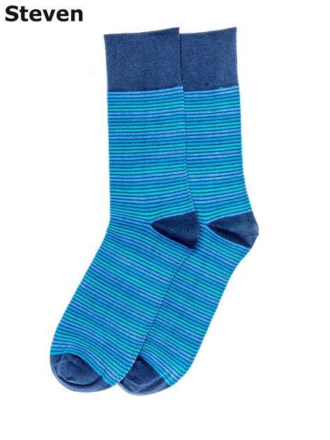 STEVEN Niebieskie skarpety bawełniane męskie w paski                              zdj.                              1
