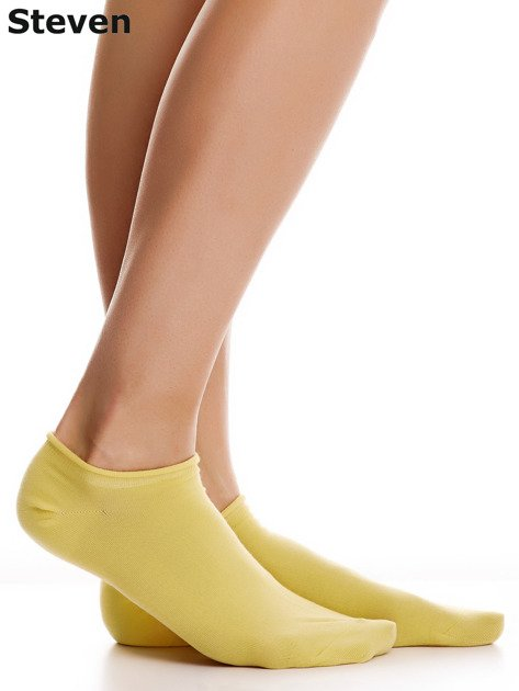 STEVEN Żółte gładkie stopki bawełniane                                  zdj.                                  1