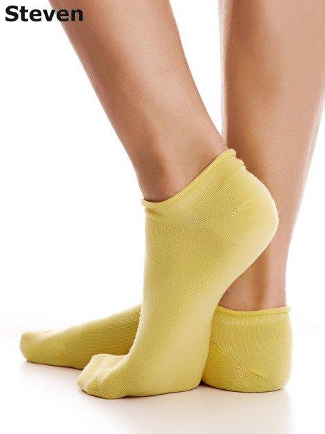 STEVEN Żółte gładkie stopki bawełniane                              zdj.                              3