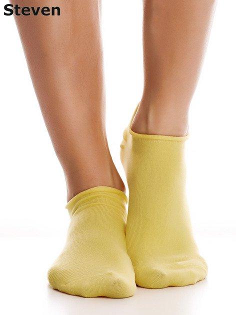 STEVEN Żółte gładkie stopki bawełniane                              zdj.                              5