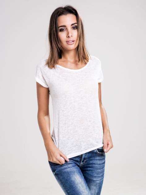 STRADIVARIUS Biały półtransparentny t-shirt z podwijanymi rękawkami