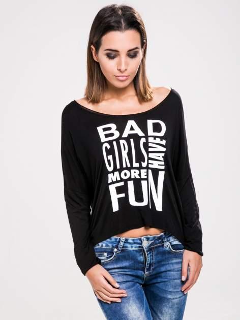 STRADIVARIUS Czarna bluzka z napisem BAD GIRLS HAVE MORE FUN