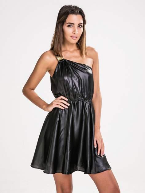 STRADIVARIUS Czarna skórzana sukienka na jedno ramię