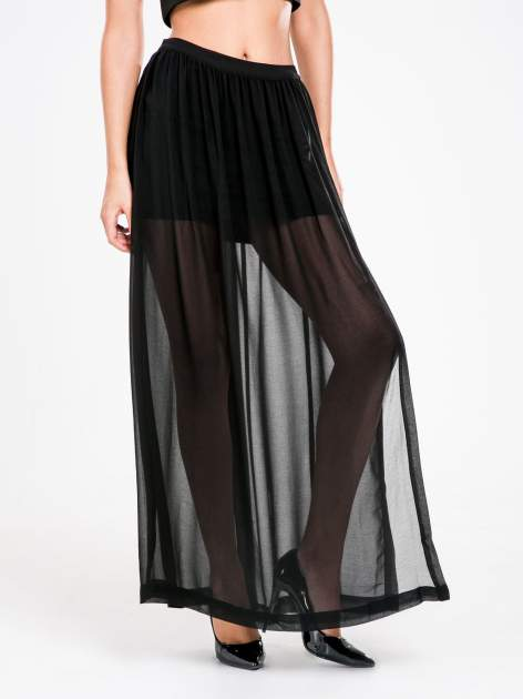 STRADIVARIUS Czarna spódnica maxi z transparentnego materiału                                  zdj.                                  1