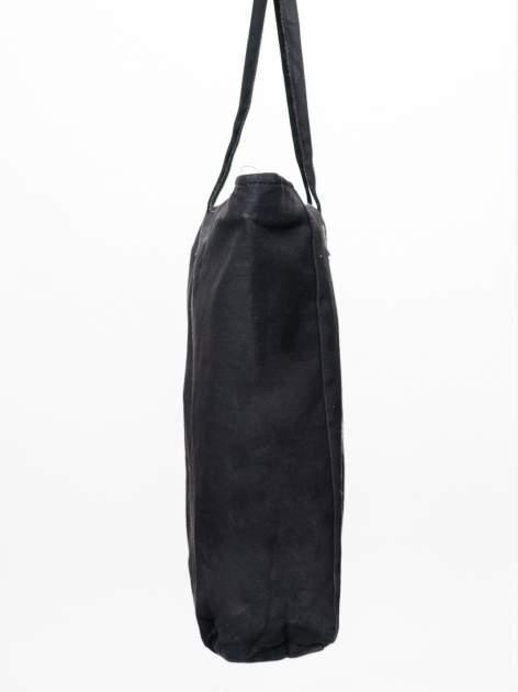 STRADIVARIUS Czarna torebka shopper bag z nadrukiem kota                                  zdj.                                  3