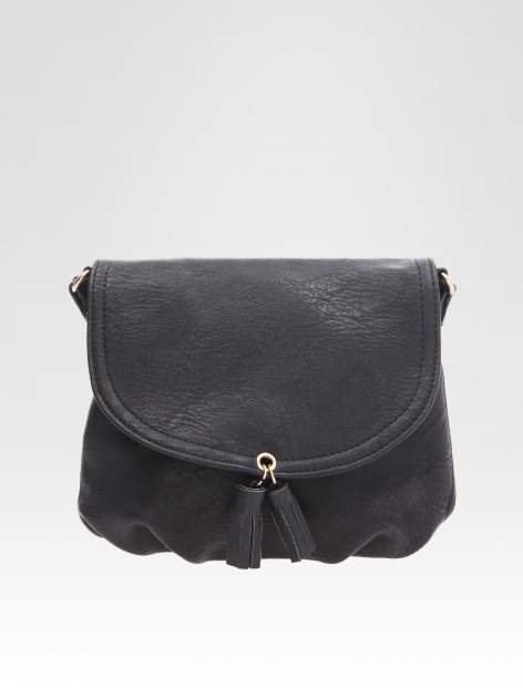 STRADIVARIUS Czarna torebka z frędzlami w stylu boho                                  zdj.                                  1