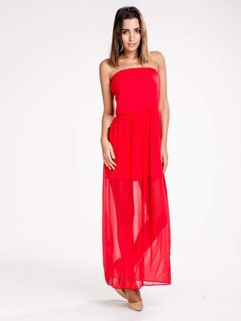 STRADIVARIUS Czerwona sukienka maxi z dekoltem gorsetowym