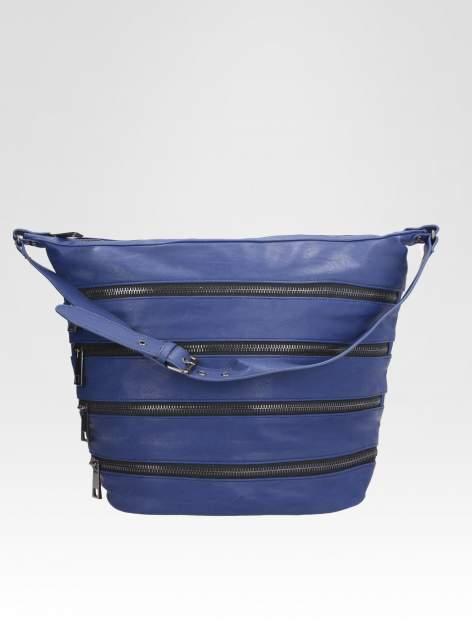STRADIVARIUS Granatowa torba z zipami                                  zdj.                                  2
