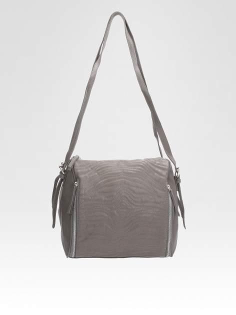 STRADIVARIUS Szara torba z bocznymi zipami                                  zdj.                                  1