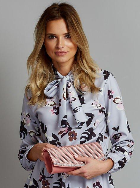 Satynowa elegancka kopertówka z dżetami różowa                              zdj.                              7
