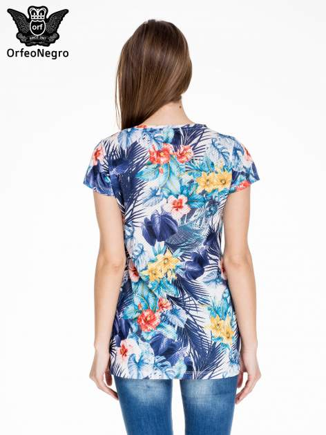 Siateczkowy t-shirt w kwiaty z nadrukiem SAN DIEGO 15                                  zdj.                                  4
