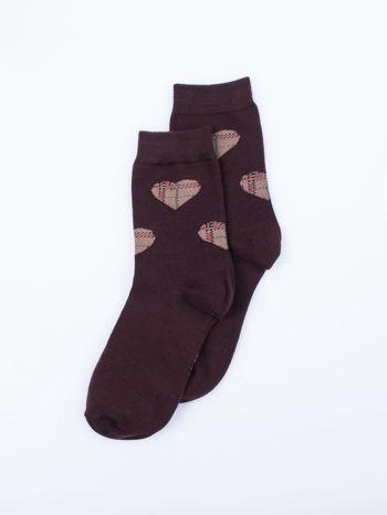 Skarpetki damskie fioletowy-brąz serca zestaw 2 pary                                  zdj.                                  5
