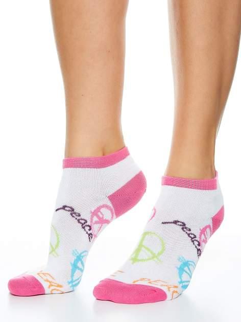 Skarpetki damskie stopki biały-róż dziewczęce zestaw 2 pary                                  zdj.                                  2