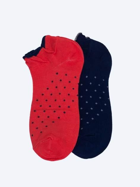 Skarpetki damskie stopki czerwony-ciemnoniebieski zestaw 2 pary