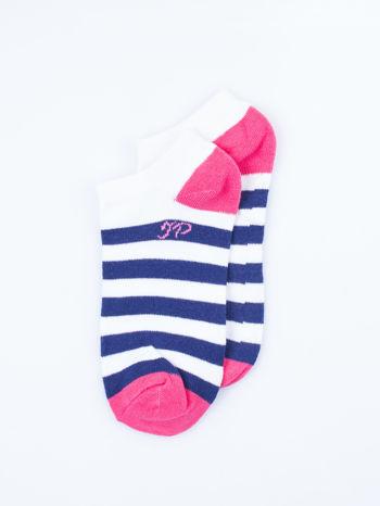 Skarpetki damskie stopki różowe i fioletowe paski zestaw 2 pary                                  zdj.                                  5
